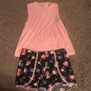 Pants - Floral Shorts and Tank Top